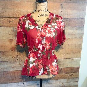 Apt. 9 Petite Fall Flower Button Up Shirt